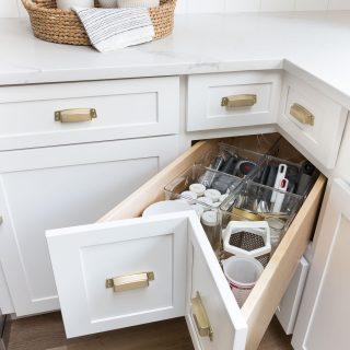 Kitchen cabinet corner deep drawer storage organization 2
