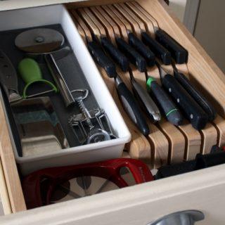 Kitchen drawer organization ideas with knife block