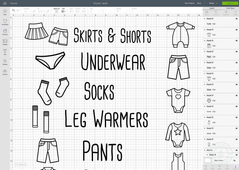 Open free dresser drawer labels svg file in cricut design space