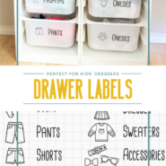 Organize kids clothes in ikea trofast bins with this free svg file and free printable dresser drawer labels