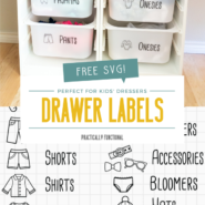 Organize kids clothing with these free printable dresser drawer labels and free svg file for ikea trofast bins