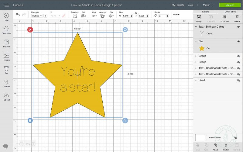 Attach writing to images in cricut design space select both layers