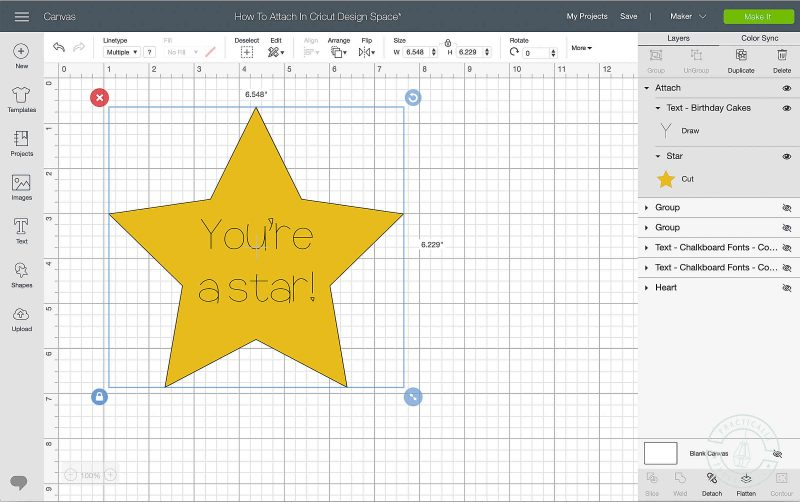 Attach writing to images in cricut design space select layers and click attach