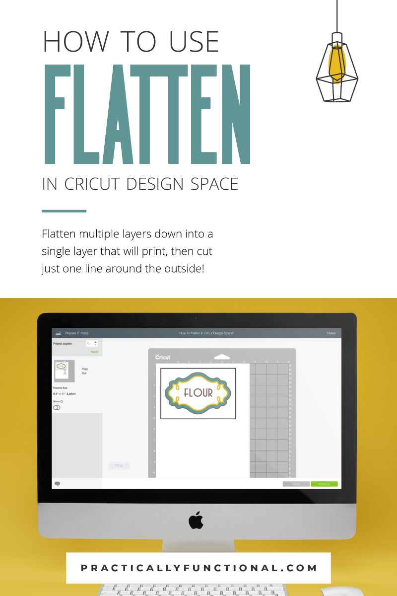 How to flatten images and text in cricut design space to print without cutting 2