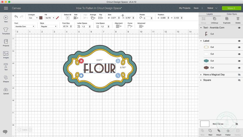 How to flatten in cricut design space position layers on top of each other