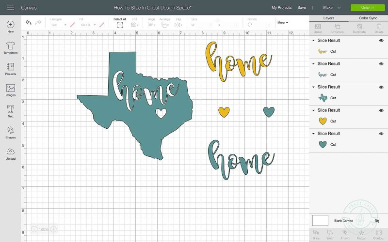 How to slice letters on cricut design space