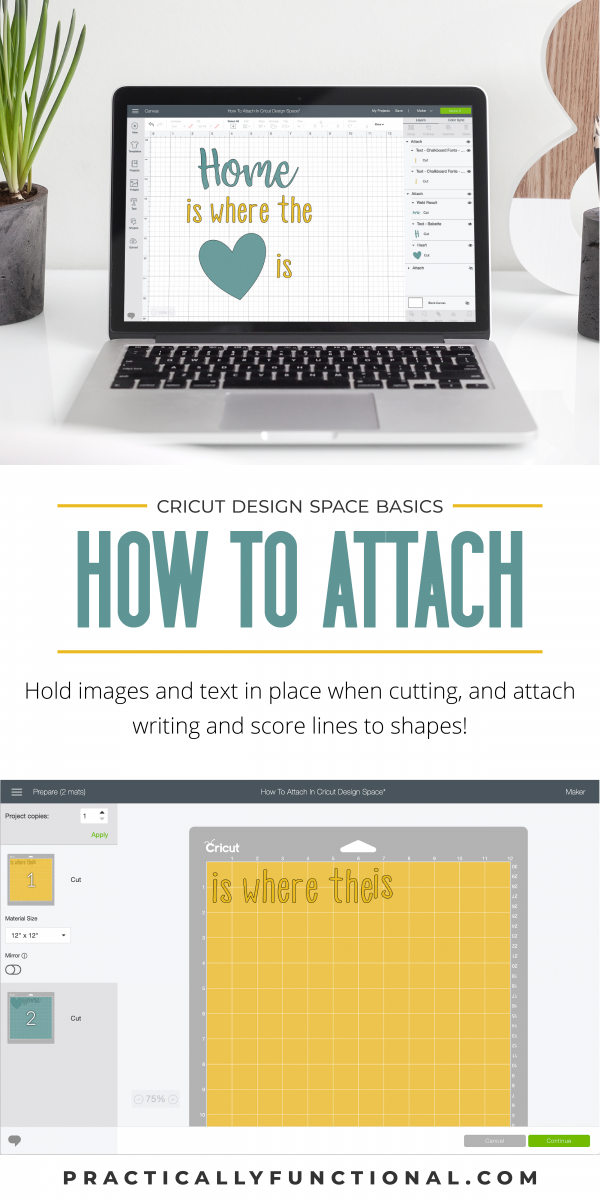 How to use cricut design space attach feature