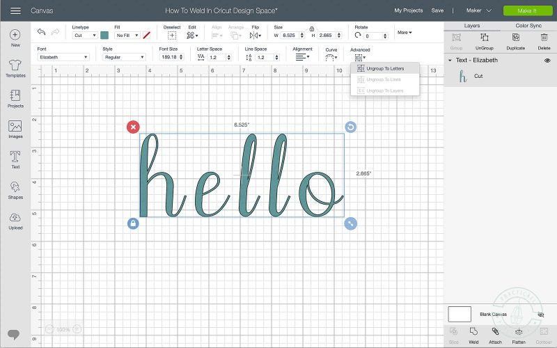 How to weld in cricut design space separate into letters