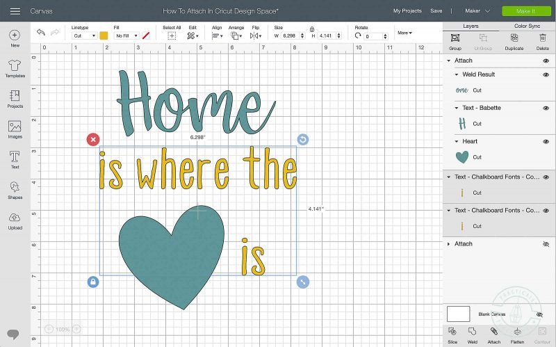 Learn how to lock the image position on the mat in cricut design space select layers and click attach