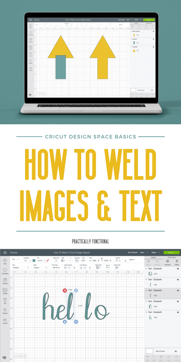 Learn how to weld images and connect letters in cricut design space