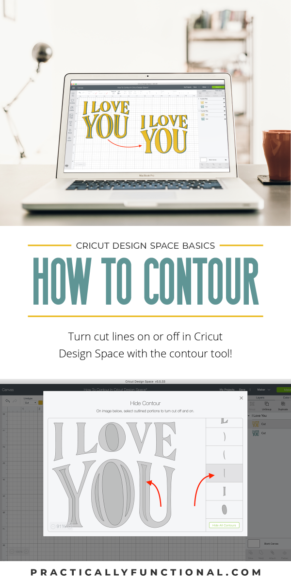 How to show or hide cut lines with contour in cricut design space