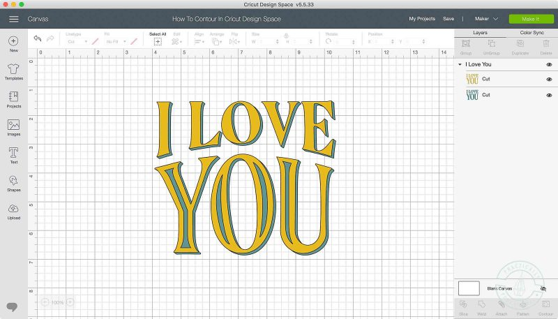 How to use the contour tool in cricut design space to show or hide cut lines in text and images