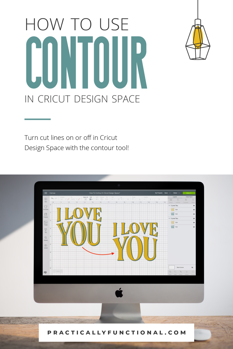 How to use the contour tool in cricut design space to turn on or off cut lines