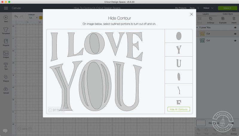 Use the contour tool in cricut design space to turn on or off cut lines click contour button