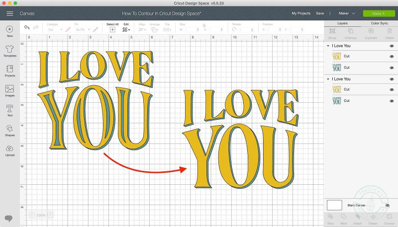 Use the contour tool in cricut design space to turn on or off cut lines in images or text