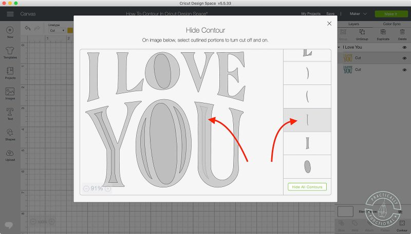Use the contour tool in cricut design space to turn on or off cut lines select areas to turn off cut lines 1