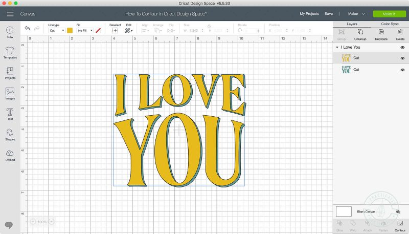 Use the contour tool in cricut design space to turn on or off cut lines text with cut lines turned off