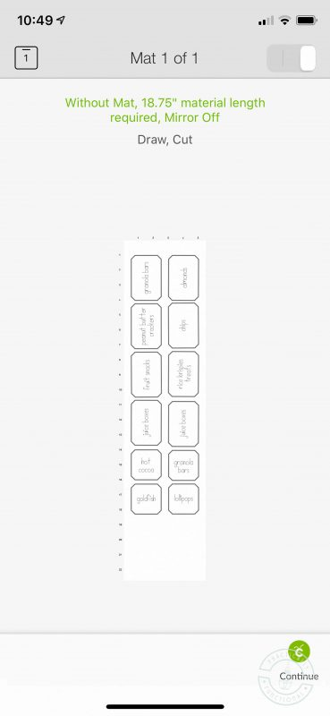 Cricut joy pantry labels mat preview shows required material length