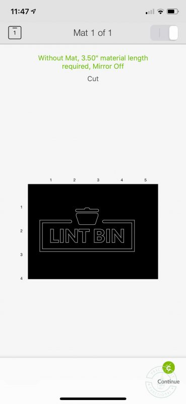 Laundry lint bin made with cricut joy preview mats