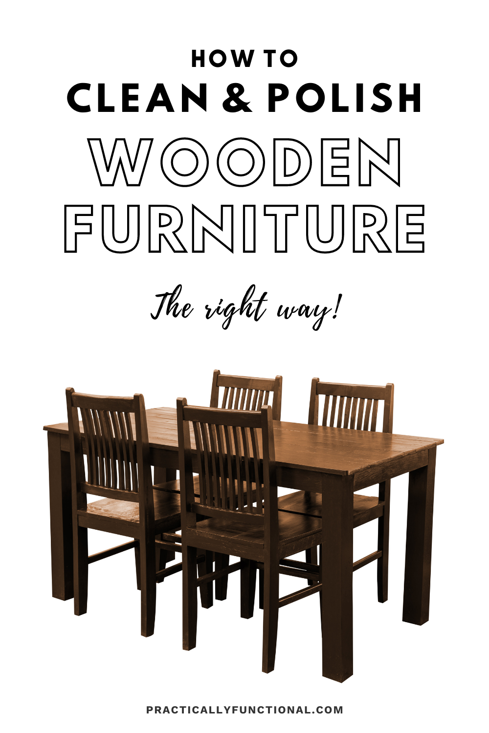 solid wood table and chairs with text